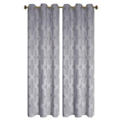 Drona Charcoal Room Darkening Woven Jacquard Thermal Lined Grommet Curtain