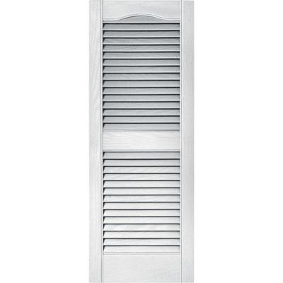 Builders Edge 15 in. x 39 in. Louvered Vinyl Exterior Shutters Pair in #001 White