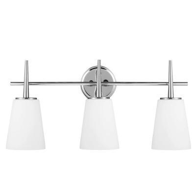 Driscoll 3-Light Chrome Wall/Bath Vanity Light with Inside White Painted Etched