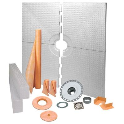 Schluter Kerdi-Shower 72 in. x 72 in. Shower Kit in PVC with Brushed Nickel Anodized Aluminum Drain Grate