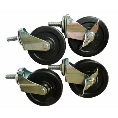 4 in. Industrial Casters for NSF 4-Tier Wire Shelving, Black (4-Pack)