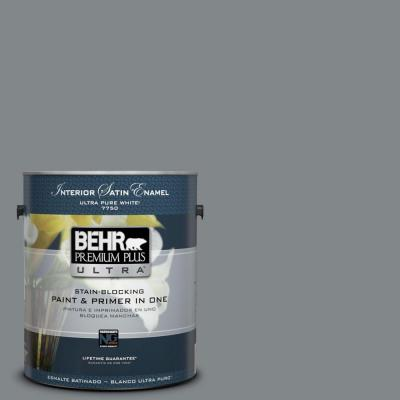 1 gal. #N500-5 Magnetic Gray Color Satin Enamel Interior Paint