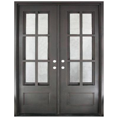 62 in. x 97.5 in. Craftsman Classic Decorative 3/4 Lite Painted Oil Rubbed Bronze Wrought Iron Prehung Front Door Product Photo