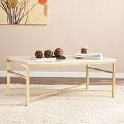 Nellie Rectangular Faux Travertine Stone and Matte Brass Cocktail Table