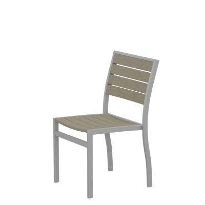 Euro Textured Silver Patio Dining Side Chair with Sand Slats