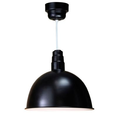 Illumine 1-Light Outdoor Hanging Black Deep Bowl Pendant with Wire Guard