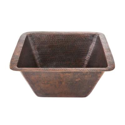 Premier Copper Products Under Counter/Surface-Mount Square Hammered Copper 15 in. 0-Hole Bar/Prep Sink in Oil Rubbed Bronze