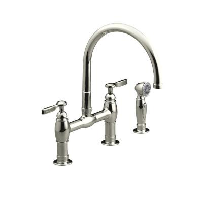 Parq 2-Handle Bridge Kitchen Faucet with Side Sprayer in Vibrant Polished