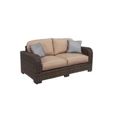 Brown Jordan Northshore Patio Loveseat with Sparrow Cushions and Congo Throw Pillows -- CUSTOM
