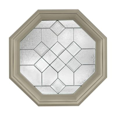 Hy-Lite 23.25 in. x 23.25 in. Decorative Glass Fixed Octagon Vinyl Window - Tan