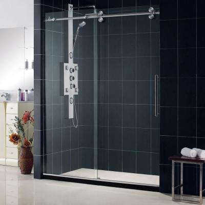 Enigma 56 in. to 60 in. x 79 in. Frameless Sliding Shower Door in Brushed Stainless Steel