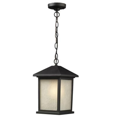 Lawrence 1-Light Black Incandescent Outdoor Hanging Pendant