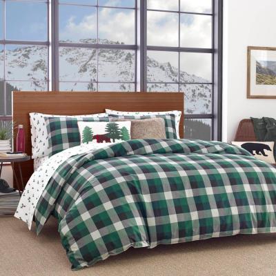 Birch Cove Green Plaid Cotton Comforter Set