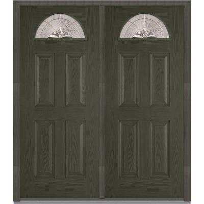 72 in. x 80 in. Heirloom Master Decorative Glass 1/4 Lite Finished Oak Fiberglass Double Prehung Front Door Product Photo