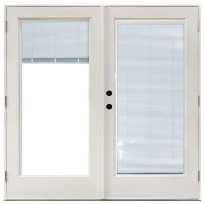71-1/4 in. x 79-1/2 in. Fiberglass White Right-Hand Outswing Hinged Patio Door with Blinds Between Glass Product Photo
