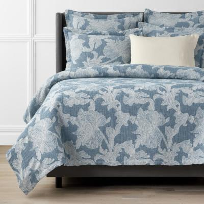 Willoughby Jacquard Woven Blue Geometric Cotton Coverlet