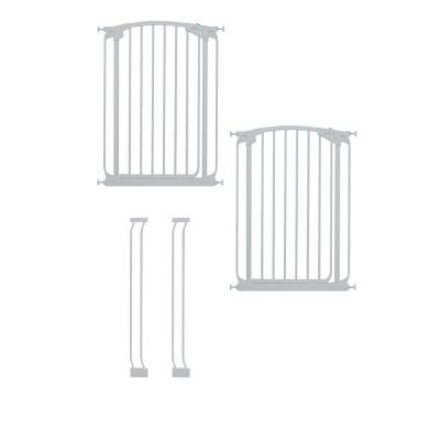 Dreambaby Chelsea 40 in. H. Extra Tall Auto Close Security Gate in White Value Pack with 2 Gates and 2 Extensions