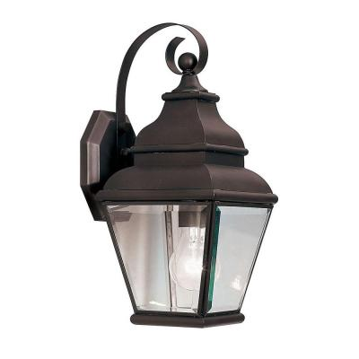 Filament Design 1-Light Outdoor Bronze Wall Lantern with Clear Beveled Glass