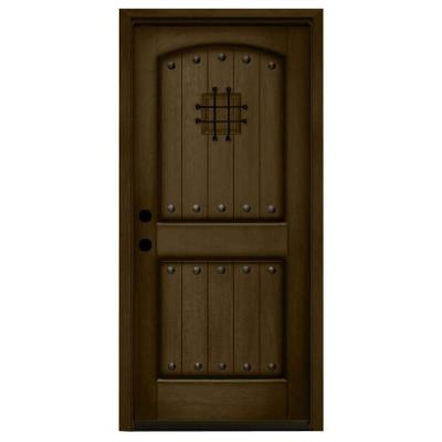 36 in. x 80 in. Rustic 2-Panel Speakeasy Stained Mahogany Wood Prehung Front Door Product Photo