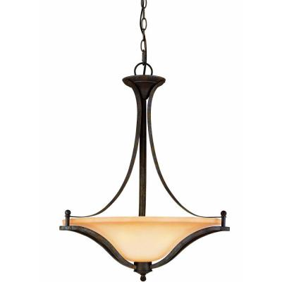 commercial electric 3 light rustic iron pendant. Black Bedroom Furniture Sets. Home Design Ideas