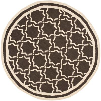 Dhurries Chocolate/Ivory 6 ft. Round Area Rug