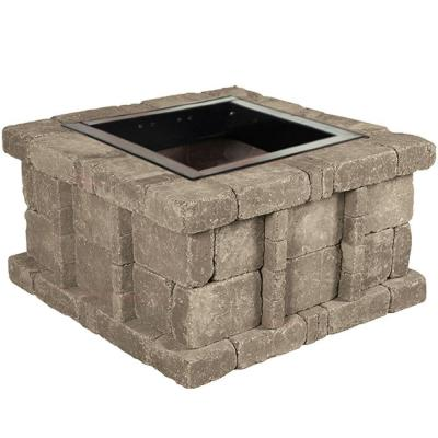 38.5 in. x 21 in. Rumblestone Square Fire Pit Kit in Greystone Product Photo