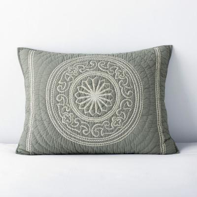 Sage Medallion Geometric Cotton Embroidered Sham