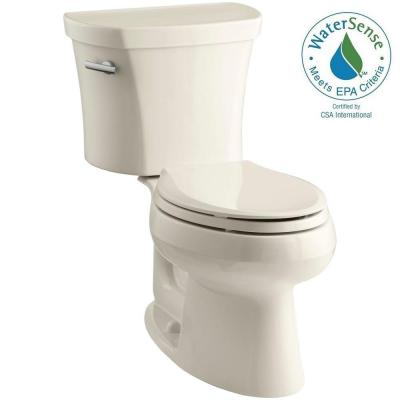 KOHLER Wellworth 14 in. Rough-In 2-piece 1.28 GPF Single Flush Elongated Toilet in Almond