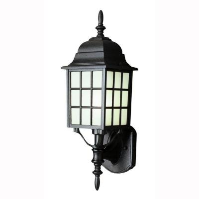 Bel Air Lighting Cityscape 1-Light Black Coach Lantern with Frosted Glass
