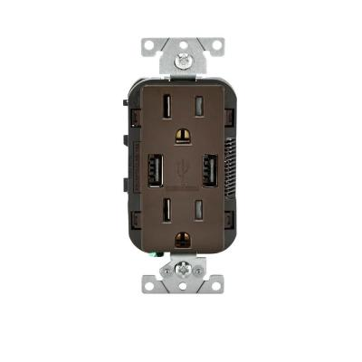 15 Amp Decora Combination Duplex Receptacle and USB Charger - Brown Product Photo