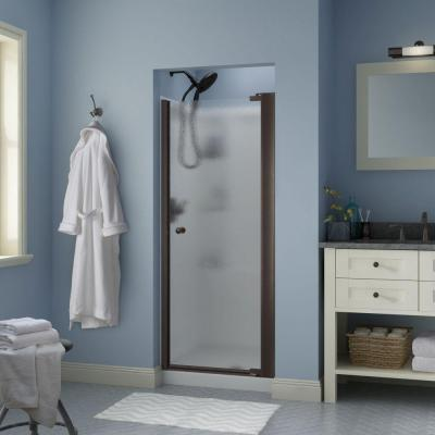 Silverton 30 in. x 64-3/4 in. Semi-Framed Pivot Shower Door in Bronze with Rain Glass Product Photo