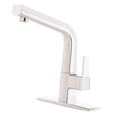 CleanFLO Matisse Single-Handle Standard Kitchen Faucet in Chrome and White