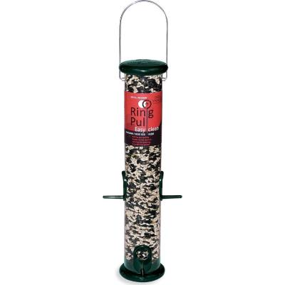 15 in. Ring Pull Plastic Songbird Sunflower/Mixed Seed Bird Feeder