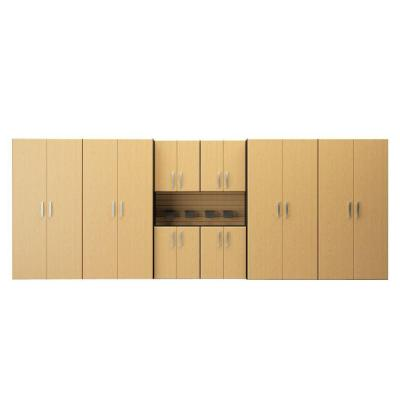 Flow Wall 72 in. H x 192 in. W x 21 in. D 25-Pieces Jumbo Cabinet Storage Station Kit with Panels in Maple