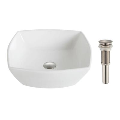 Elavo Vessel Sink in White with Pop-Up Drain in Brushed Nickel Product Photo