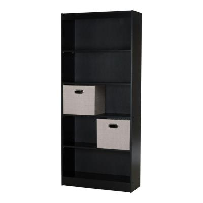 south shore axess 5 shelf bookcase in pure black 8050146k. Black Bedroom Furniture Sets. Home Design Ideas