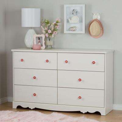 South Shore Lily Rose 6-Drawer White Wash Dresser