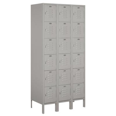 Salsbury Industries 66000 Series 36 in. W x 78 in. H x 18 in. D Six Tier Box Style Metal Locker Assembled in Gray