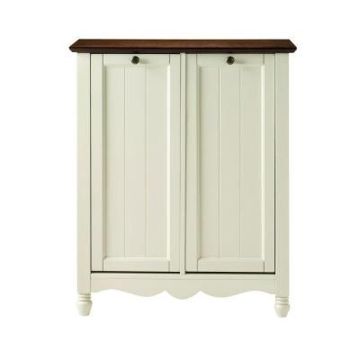 Home decorators collection southport 26 in w ivory and oak double door tilt out laundry hamper - Tilt laundry hamper ...