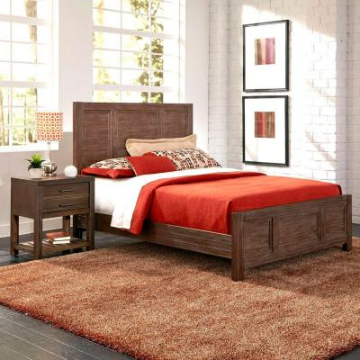 Barnside Queen-Size Bed and Nightstand (2-Piece) Set in Aged Finish