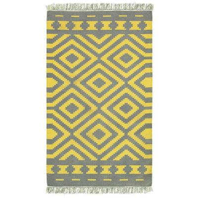 Tribeca Gray/Mustard Rectangle 8 ft. x 10 ft. Flat Weave Wool