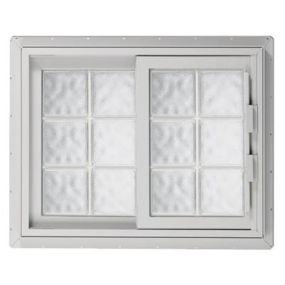 52.75 in. x 46.125 in. Acrylic Block Left-Hand Sliding Vinyl Window - White Product Photo