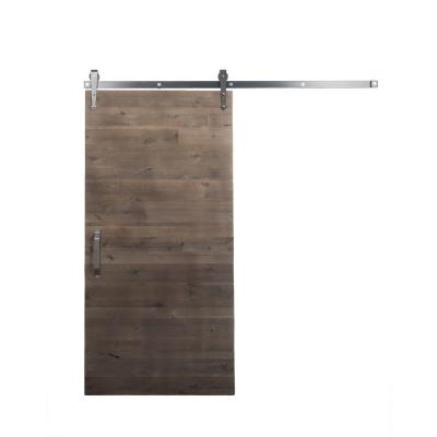 42 in. x 84 in. Rustica Reclaimed Home Depot Gray Wood Barn Door with Arrow Sliding Door Hardware Kit Product Photo