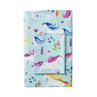 Unicorn Garden 200-Thread Count Cotton Percale Fitted Sheet