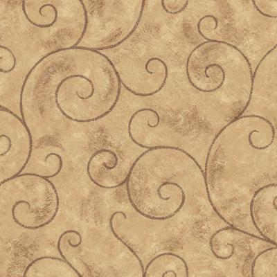 The Wallpaper Company 56 sq. ft. Brown Scroll Wallpaper