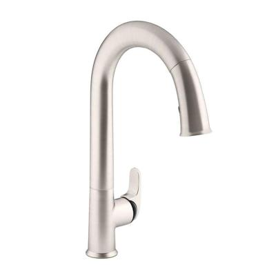 KOHLER Sensate AC-Powered Touchless Single-Handle Pull-Down Sprayer Kitchen Faucet in Vibrant Stainless with Black Accents