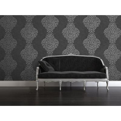 56 sq. ft. Lux Charcoal Foil Damask Wallpaper