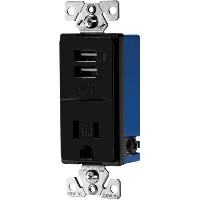 15-Amp Decorator USB Charger with Electrical Outlet - Black