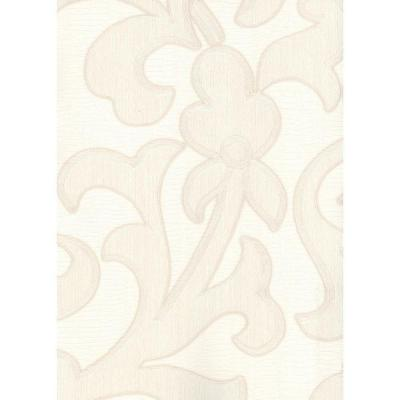 null 56 ft. Large contemporary flower Wallpaper in white