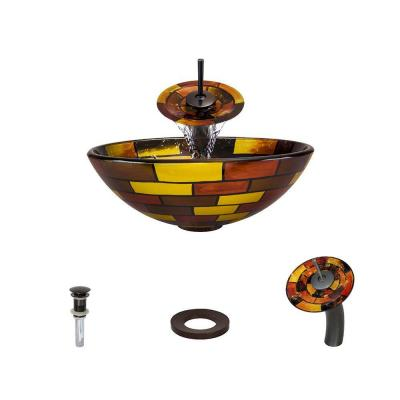 Glass Vessel Sink in Stained Glass with Waterfall Faucet and Pop-Up Drain in Oil Rubbed Bronze Product Photo